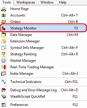 Меню Strategy Monitor